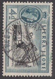 SIERRA LEONE 1957 QE 4d FREETOWN QUAY cds..................................87315
