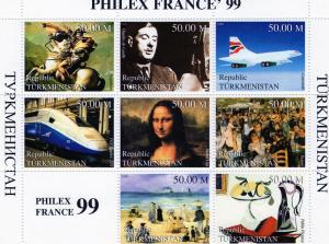 Turkmenistan 1999 PhilexFrance'99 Trains/Art/Napoleon Shlt 8