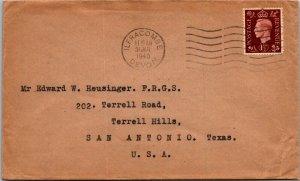 Ilfracombe UK > San Antonio TX USA 1940 1 1/2d GVI stamp cover