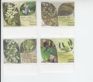 2013 Nepal Biodiversity Plants  (Scott 936-39) MNH