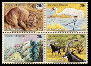 UN New York Birds Wombat Crane Clams Antelope 4v Block 2*2 SG#630-633 SC#623a