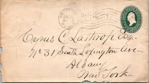 Bridgeport CT > Albany NY 2¢ postal stationery cover 1898