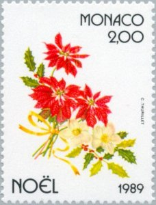 Monaco 1989 Poinsettias, Christmas roses and holly branches MNH**