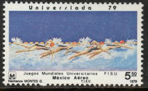 MEXICO C613, SWIMMING University Games. MINT, NH, F-VF.
