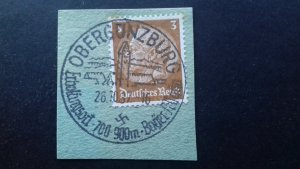 Germany 1937 Paul von Hindenburg - On card  Good Stamp Used