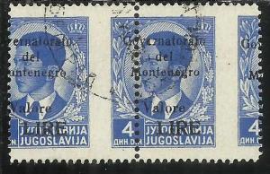 MONTENEGRO 1942 SOPRASTAMPA NERA BLACK OVERPRINTED VALORE LIRE 4 D COPPIA VAR...