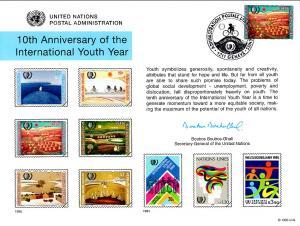 UN SC48 Youth Year Souvenir Card Geneva Cancel FDC