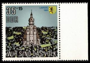 GERMANY / DDR EAST GERMANY 1990 35pf+15pf # B203 SET OF 1 MNH, LEIPZIG CHURCH