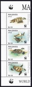 Maldives WWF Hawksbill Turtle Left strip of 4v with WWF Logo SG#2297-2300
