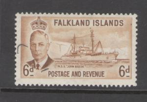 Falkland Islands 1952 King George V 6p Scott # 113 MH