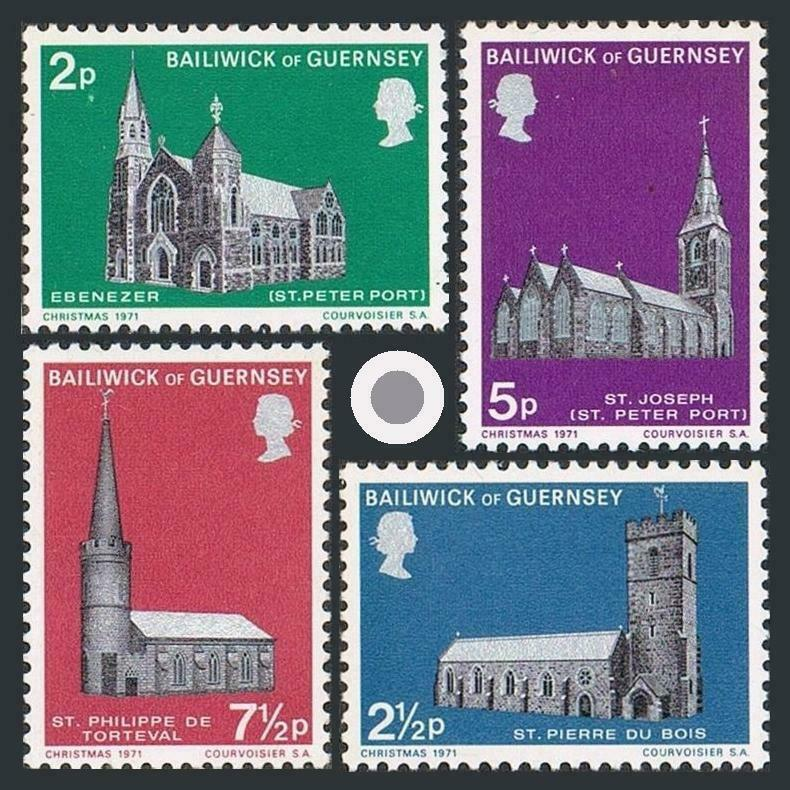 Guernsey 60-63,MNH.Michel 58-61. Christmas 1971,Historic Churches.