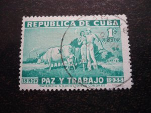 Stamps - Cuba - Scott# 332 - Used Single Stamp with Printing Variation