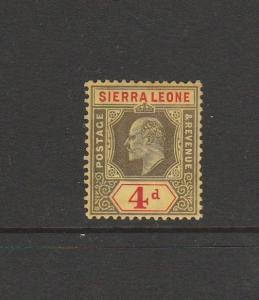 Sierra Leone 1907/12 4d Black & red/Yellow MM SG 105