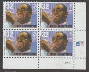 U.S. Scott #2982 Louis Armstrong Stamp - Mint NH Plate Block