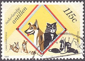 Netherlands Antilles # 609 used ~ 115¢ Dogs and Cats