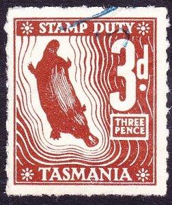 TASMANIA 3d Brown Stamp Duty Revenue Stamp FU