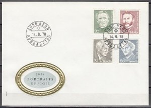 Switzerland, Scott cat. 662-665. Composer & H. Dunant.  First day cover. ^