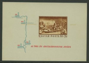 Hungary 1965 Perf & Imperforate Flood Victims S/S Sc# B253 NH