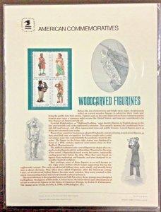 Commemorative Panel #271   Woodcarved Figurines, Folk Art #2240-43  22 c 1986