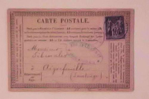 FRANCE   POSTAL CARD FORERUNNER 1878 BORDEAUX B/S