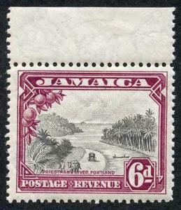 Jamaica SG113 1932 KGV 6d Grey-black and Purple Priestmans River U/M