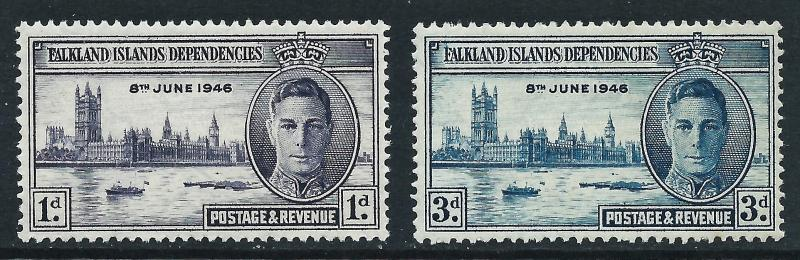 Falkland Islands Dependencies, Sc #1L9-1L10, 1946 Peace Issue, MH