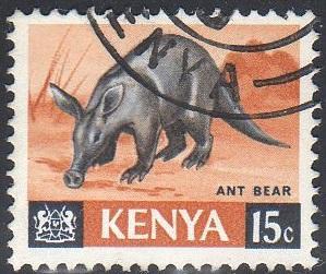 Kenya 22 - Used - 15c Aardvark (Ant Bear) (1966) (4)