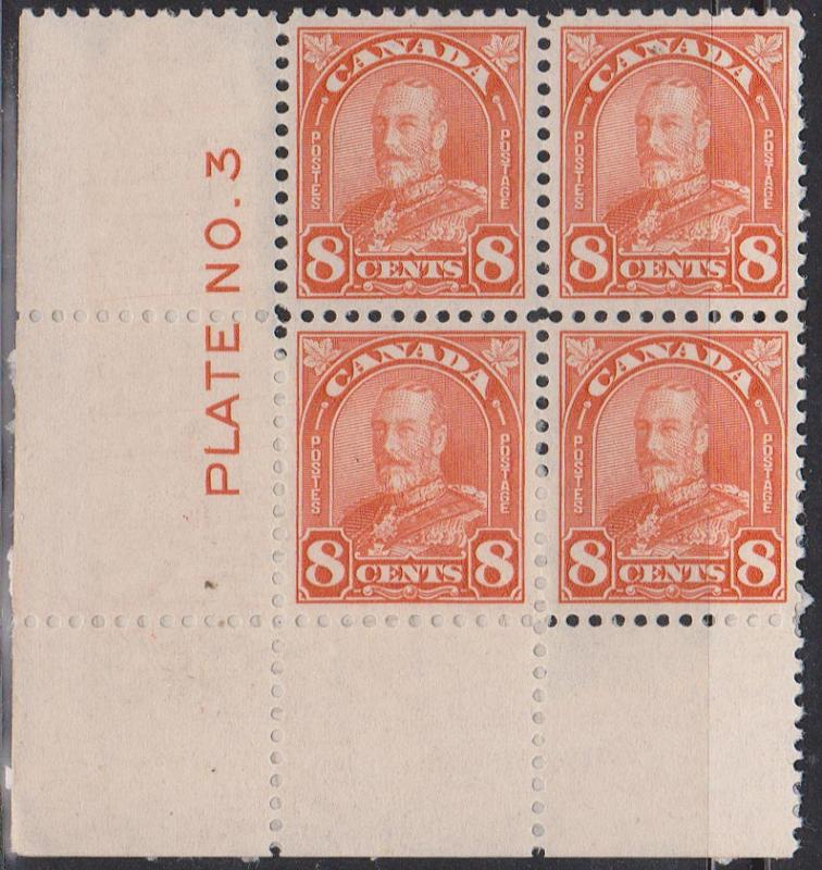 Canada - #172 Unused 1930 8c Orange Arch Plate 3 Block