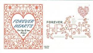 AFDCS 4956 Forever Hearts Red on White Background Digital Color Postmark
