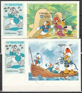 Bhutan, Scott cat. 469-470. Donald as a Sea Scout on a s/sht. First day cover. *