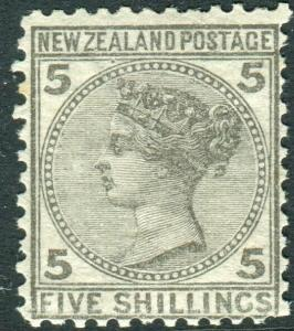 NEW ZEALAND-1878 5/- Grey.  A mounted mint example Sg 186