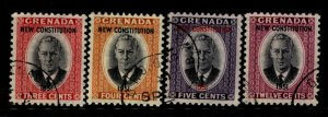 Grenada 1951 OVP New Constitution Stamp Set Scott 166-9 4 Stamps Used F