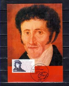 Germany, Scott cat. 1682. National Anthem Writer issue on a Maximum Card.