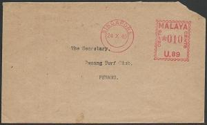 SINGAPORE 1949 cover to Penang 10c Meter U.89 (Singapore Turf Club)........47614