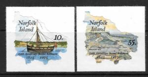 NORFOLK ISLAND SG163/4 1975 150th ANNIVERSARY OF SECOND SETTLEMENTS MNH