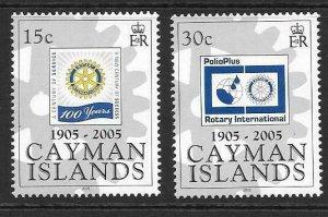 CAYMAN ISLANDS SG1065/6 2005 ROTARY INTERNATIONAL MNH