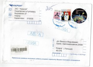 Kazakhstan 2019 Registered Cover to Poland Stamps Space UAE Expo Future Energy