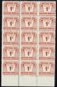 NORTHERN RHODESIA 1963 POSTAGE DUE 1D MNH ** BLOCK