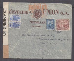 COLOMBIA, 1942 Censored Airmail cover, Medellin to USA, 1c.(2), 5c., 30c.