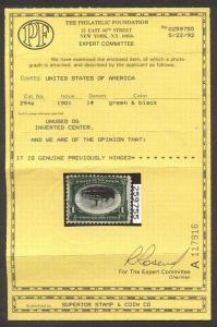 U.S. #294a Mint BEAUTY w/Cert - 1901 1c Pan American, Inverted Center