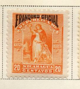 Nicaragua 1894 Early Issue Fine Mint Hinged 20c. Official Optd 323731