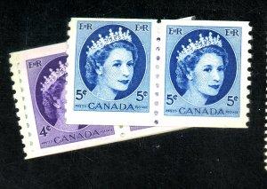 CANADA #4345-8 MINT PAIRS FVF OG LH CAT $9