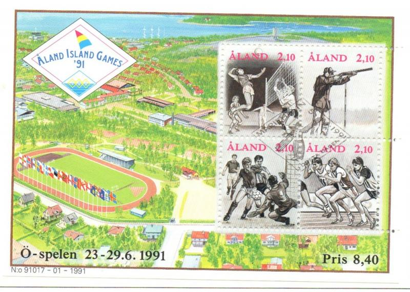 Aland Sc 58 1991 Aland Games stamp sheet used
