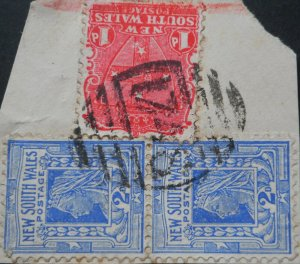 New South Wales 1897 Two Pence pair with 1748 numeral postmark