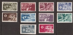 Romania   #B304-B313  MNH 1945 Romanian engineers congress. perf and imperf