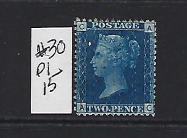 GREAT BRITAIN SCOTT #30 PLATE 15 1858-59 (BLUE) - WMK 20  - USED