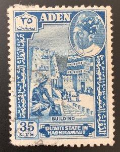 Aden Quaiti 1963 35c, used but THIN.  Scott 45, CV $1.50.  Michel 45