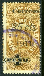 Nicaragua 1911 Fiscal Issues 35¢/1 Peso Variety VFU T207 ⭐⭐⭐⭐⭐⭐
