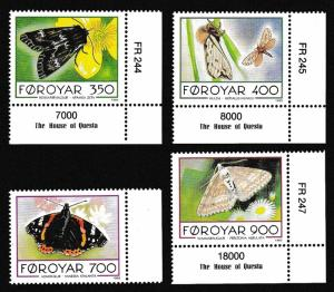 Faroe Is. Butterflies and Moths 4v with margins SG#245-248 MI#252-255 SC#256-259