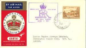 Norfolk Islands 2/- View of Ball Bay 1953 Norfolk Island, EIIR Coronation Day...